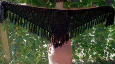 Black Crochet Shawl Triangle Shawl Elegant Shawl by OCcreation