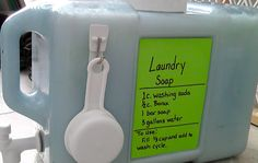 Homemade laundry soap and DIY container for it!  http://colorwheelmeals.com/2012/04/02/diy-homemade-laundry-soap/