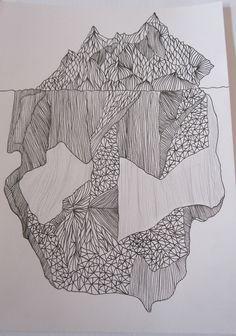 Orginal Iceberg Drawing - Underneath the Surface. $70.00, via Etsy.