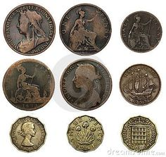 "UK coins - one penny, half penny (or ha' - pronounced ""hey"" - penny) and three pence (or ""thruppenny bit"").Old UK coins - one penny, half penny (or ha' - pronounced ""hey"" - penny) and three pence (or ""thruppenny bit""). Old British Coins, Old Money, Cash Money, My Childhood Memories, Rare Coins, Gold Coins, Mint Coins, Silver Dollar, British History"