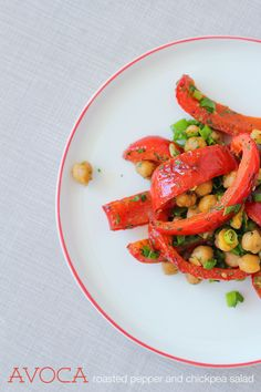 Easy breezy summer salad: Avoca roasted peppers and chickpeas - Splash of Something Healthy Eating Recipes, Veggie Recipes, Vegetarian Recipes, Veggie Food, Wine Dinner, Chickpea Salad, Roasted Red Peppers, Summer Salads, Summer Food