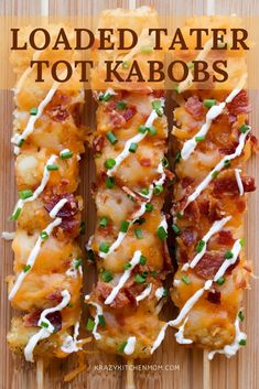 It's Easy To Turn Frozen Tater Tots Into A Fan Favorite Snack On Game Day With Loaded Tater Tot Kabobs. Covered In Cheese And Bacon - You Can't Lose Via Krazykitchenmom Easy Appetizer Recipes, Brunch Recipes, Dinner Recipes, Crowd Recipes, Fun Appetizers, Kabob Recipes, Tailgating Recipes, Potato Recipes, Summer Recipes