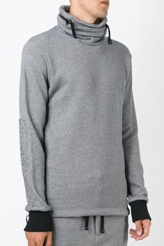 Y-3. Turtle neck sweat with bonded zip fastening and long zip pullers. Contrast cuffs.