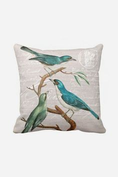 Pillow Cover Turquoise Birds Cotton and Burlap