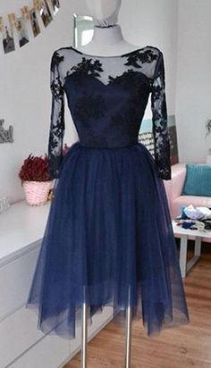 Sheer Short Homecoming Dress,Lace Tulle Homecoming Dresses