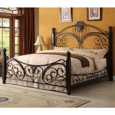I want this bed. Alysa Metal King Bed with Decorative Side Rails - Sam's Club Wrought Iron Beds, Wrought Iron Decor, Iron Furniture, Bedroom Furniture, Bedroom Decor, Cama King, Steel Bed Frame, Metal Beds, New Beds