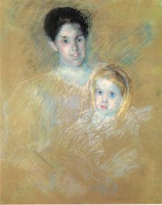 "impressionism-art-blog: "" Smiling Mother with Sober Faced Child by Mary Cassatt Size: 80.01x63.5 cm Medium: pastel"""