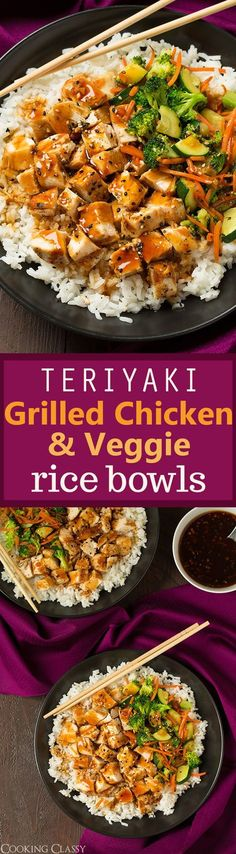 Teriyaki Grilled Chicken and Veggie Rice Bowls - hearty, healthy and totally delicious! The easy teriyaki sauce recipe is perfect! (Cheap Easy Meal Chicken)