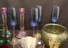 "Colored glass incl vases, candlestick holders, stemware, bowls, 3""T bottles"