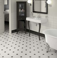 Heritage style bathroom with our Octagon floor tiles. You can create this look with any of our subway style tiles on the wall to compliment the patterned floor tiles. White Bathroom Tiles, Bathroom Floor Tiles, Tile Floor, Bathroom Sconces, Wall Tile, Bad Inspiration, Bathroom Inspiration, Black And White Tiles, Bathroom Interior Design