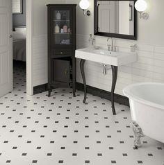 bathroom with octagonal floor and semi-gloss wall tile | Bathroom Tiles