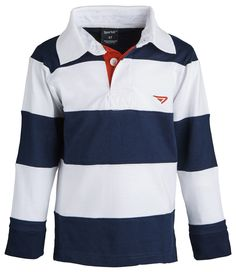 Boys 100% Cotton Wide Striped Long Sleeve Polo Rugby Shirt