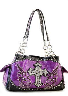 Purple Designer Cross Studs Inspired Tribal tote Western Handbag Purse