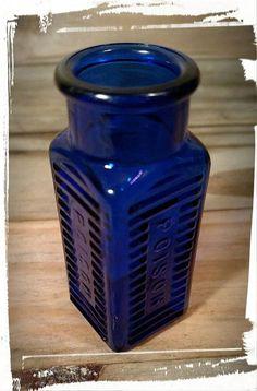 Vintage Cobalt Blue Poison Bottle 2 / Square by Flavsantiques