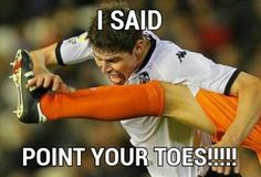 POINT YOUR TOES lol U do soccer too!!!
