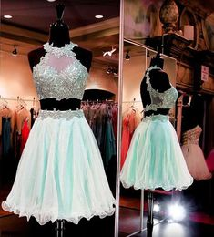 Mint green organza homecoming dress, lace homecoming dress,high neck homecoming dress, two pieces open back dress,PD190439