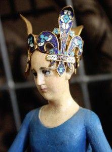 19th C. Blue Santos Cage Doll w/ Enamel Crown...