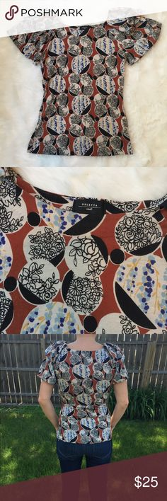 """ANTHROPOLOGIE Deletta Top This top is in great condition! No marks! Cute pattern!90% tencel 10% wool. Stretchy fabric. Non-smoking pet free home. 16"""" across the bust. Form fitting small. Fits XS-S. 21"""" long.                                                                         🔹suggested user🔹fast shipper🔹                                    🔸bundle to save 15%🔸300+ items. Anthropologie Tops Tees - Short Sleeve"""
