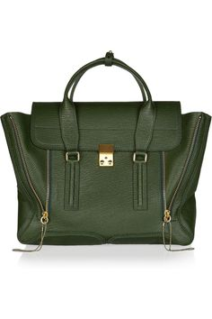Forest green leather tote