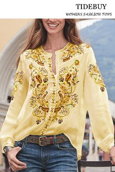 Shop blouses - wotoba floral 1 white women blouses cotton-blend casual v neck long sleeve daily blouses online. Discover unique designers fashion at. White Casual, Casual Tops, Boho Fashion, Fashion Outfits, Boho Look, Cotton Blouses, White Women, Types Of Sleeves, Pretty Outfits