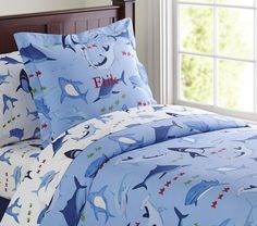 Shop shark bedding from Pottery Barn Kids. Find expertly crafted kids and baby furniture, decor and accessories, including a variety of shark bedding. Pottery Barn Kids, Shark Bedroom, Rooms Home Decor, Baby Furniture, New Blue, Luxury Bedding, Duvet Covers, Kids Room, Nautical Art