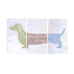 {3 Piece Dachshund Tea Towel} Naked Decor