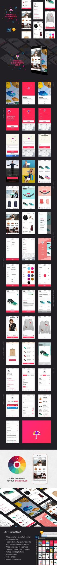 Umbrella iOS e-Commerce UI Kit. UI Elements. $10.00