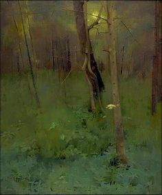 At the Edge of the Wood, 1886, Thomas Millie Dow, a Scottish painter (1848-1919) - (92 x 76.5 cm). Oil on canva in a private collection