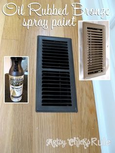 Many Uses of Oil Rubbed Bronze (ORB) Spray Paint--From vent covers, to picture frames, to cabinet hardware, to light fixtures--you can update without having to buy new.