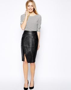 Image 1 ofOasis Leather Look Wrap Pencil Skirt