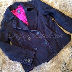 """Navy corduroy jacket This corduroy jacket is beautiful! Fully lined in a pink satin material. Two rows of buttons down the front. Two pockets on the front. Two buttons at wrist. Pretty thick. Length: 23.5"""", bust: 20.5"""", sleeve length: 23.5"""". Gently used. Normal wear, see picture. GAP Jackets & Coats Pea Coats"""