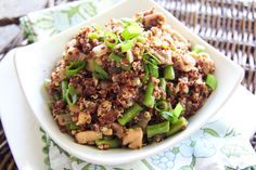 Quinoa Stir Fry  I am not a big oyster sauce fan, so I am going to substitute Hoison sauce instead.