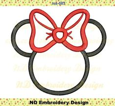 Minnie Mouse Embroidery Applique Desin, bow machine embroidery,  ms-083