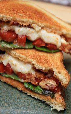 tomatoes, basil, bacon and fresh mozzarella. My basil plant is out of control. This recipe looks awesome!