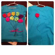 100 Days of School Shirt- 10 balloons with 10 pom poms per balloon. The 10th balloon floated away on the back. Fabric pen, hot glue, pom poms and ribbon, simple.