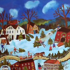 Christmas tree folk art painting