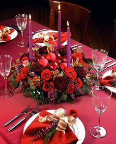 Red flowers make for festive centerpieces.