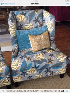Teal, gold and gorgeous! Love this chair from Wesley Hall.