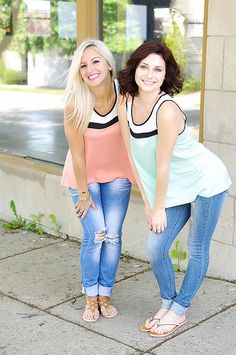 Color block tank top with a white sheer panel across top.