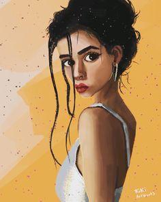 Brown black hair #cutegirl #illustration #procreate #kikiartworks #girlpower#orange #beautifulwomanart #powerfulwomen