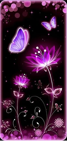 Black and pink and purple Neon Wallpaper, Butterfly Wallpaper, Butterfly Art, Wallpaper Backgrounds, Iphone Wallpaper, Neon Flowers, Butterfly Pictures, Purple Backgrounds, Cellphone Wallpaper