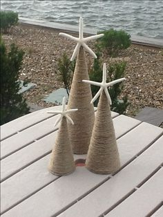 Coastal Christmas, DIY, twine or wrap cone in burlap! Coastal Christmas Decor, Nautical Christmas, Tropical Christmas, Caribbean Christmas, Purple Christmas, Scandinavian Christmas, Holiday Decor, Christmas Projects, Christmas Crafts