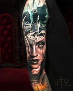 Beautiful Surrealist Double-Exposure Tattoos Mash Up People, Architecture & Nature - KickAss Things Best Sleeve Tattoos, Leg Tattoos, Body Art Tattoos, Great Tattoos, Unique Tattoos, Beautiful Tattoos, Arlo Tattoo, S Tattoo, Surreal Tattoo