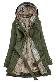Leisure Stylish Detachable Flocky Lining Solid Color Hood Warm Coat