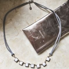 Anne Taylor LOFT necklace. White marble and leather necklace. LOFT Accessories