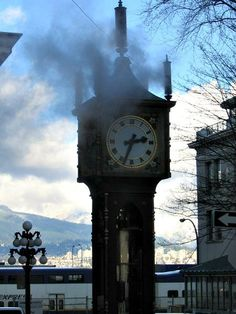 Gastowns Steam Clock is a Vancouver Tourist Attraction, interesting to see and hear. Vancouver Photos, Vancouver Travel, Vancouver Gastown, North Vancouver, Vancouver Tourist Attractions, Big Ben, Clocks, The Neighbourhood, Travel Tips