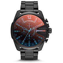 Men's Chronograph Iridescent Crystal Mega Chief Black Ion-Plated Stainless Steel Bracelet Watch Diesel Men's Chronograph Iridescent Crystal Mega Chief Black Ion-Plated Stainless Steel Bracelet Watch Black Stainless Steel, Stainless Steel Watch, Stainless Steel Bracelet, Men's Watches, Luxury Watches, Cool Watches, Oakley Watches, Analog Watches, Cheap Watches