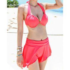 Sweet Halterneck Ruffles Three-Piece Women's Swimsuit