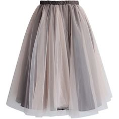 Chicwish Amore Mesh Tulle Skirt in Taupe ($40) ❤ liked on Polyvore featuring skirts, bottoms, faldas, saias, brown, elastic skirt, brown skirt, brown tulle skirt, layered tulle skirt and knee length tulle skirt