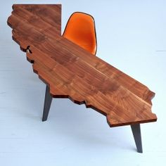 A highly coveted desk crafted by hand in the shape of California!